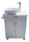 Portable Sink with White Wood Cabinet and WHITE Ceramic Vessel Model: PSW-0013
