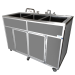 Three Deep Compartment Portable Sink  Model: PSE-2003R