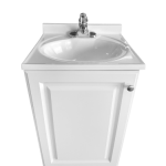 Single Basin Self Contained Sink – SPA White Wood Cabinet with Cultured Marble Counter top  Model PSW-009A